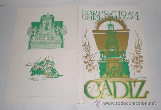 Coleccionismo de carteles: Corpus Christi, Cadiz - 1954 - Foto 2 - 38349005