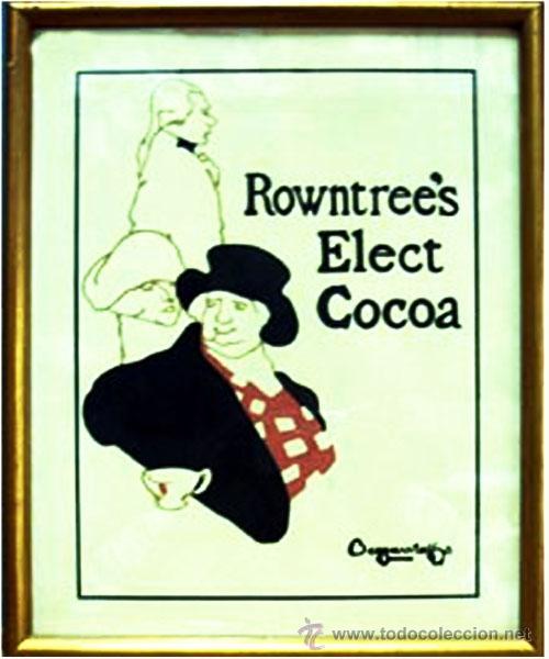 """1940.-CARTEL EN PAPEL INGLES """"ROWNTRE'ES ELECT COCOA"""". DISEÑO BERGGARS TAFFOS.ENMARCADO.24 X 31,5 CM (Coleccionismo - Carteles Pequeño Formato)"""