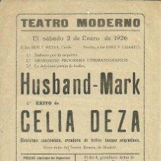 Coleccionismo de carteles: CARTEL 15 X 21 CTMS. TEATRO MODERNO, AÑO 1926 (VER FOTO ADICIONAL). Lote 39096345
