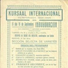 Coleccionismo de carteles: CARTEL 15 X 21 CTMS. KURSAAL INTERNACIONAL, AÑO 1925 (VER FOTO ADICIONAL). Lote 39096361