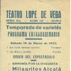 Coleccionismo de carteles: GOYITA HERRERO CARTEL DE 11 X 32 CTMS. DEL TEATRO LOPE DE VEGA DE VALLADOLID AÑO 1933 . Lote 39126771