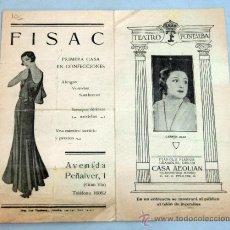 Collectionnisme d'affiches: PROGRAMA TEATRO FONTALBA LA DE LOS CLAVELES DOBLES CARMEN DÍAZ 1930 PUBLICIDAD ÉPOCA CASA AEOLIAN. Lote 39187921