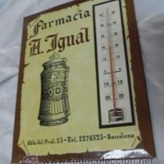 Coleccionismo de carteles: CARTEL TERMOMETRO - FARMACIA A. IGNAL DE BARCELONA. Lote 39904336