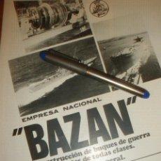 Coleccionismo de carteles: PUBLICIDAD DE BAZAN, BUQUES DE GUERRA Y MERCANTES. FERROL, CARTAGENA Y CADIZ.. Lote 40961856