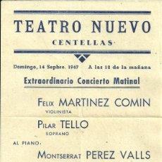 Coleccionismo de carteles: CARTEL PEQUEÑO TEATRO NUEVO DE CENTELLAS - CONCIERTO MATINAL - 21 X 15 CM. 14 SEPTIEMBRE 1947. Lote 41290611