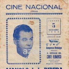 Coleccionismo de carteles: JABUGO, HUELVA, 1963,CINE NACIONAL, CARTEL PROGRAMA ESPECTACULO MANOLO DE LA RIBERA, MUY RARO. Lote 42323448