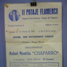 Coleccionismo de carteles: CARTEL II POTAJE FLAMENCO, ORGANIZA PEÑA FLAMENCA AMIGOS DEL CHAPARRO, CORDOBA 1981. Lote 42449605