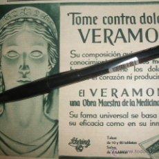 Coleccionismo de carteles: PUBLICIDAD DE VERAMON, LABORATORIOS SCHERING, 1936.. Lote 42545986