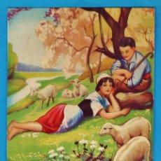 Coleccionismo de carteles: LAMINA / CARTEL - PASTOR Y DONCELLA EN EL RIO - CARTON RIGIDO - SE DESCONOCEN + DATOS -AÑOS 50 - RD4. Lote 43284496
