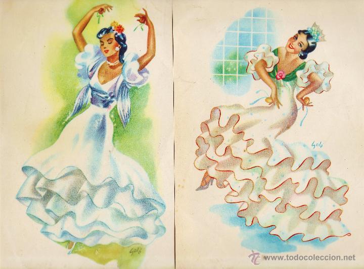 LAMINA / CARTEL - ANDALUZA / SEVILLANA - JUEGO DE 2 - IL. SOLE - VER FOTO - AÑOS 50 / 60 - RD4 (Coleccionismo - Carteles Pequeño Formato)