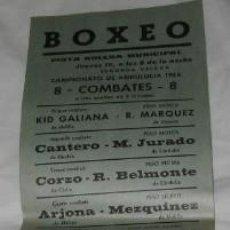 Coleccionismo de carteles: PEQUEÑO CARTEL DE LA 2ª VELADA DEL CAMPEONATO DE ANDALUCÍA DE BOXEO DE 1966, EN CÁDIZ. Lote 111990891