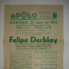 Coleccionismo de carteles: PUBLICIDAD PROGRAMACIÓN APOLO, AÑO 43. MANRESA (BARCELONA). Lote 43569226