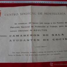 Coleccionismo de carteles: CENTRO SINDICAL HOSTELERIA ALMERIA AÑO 1972. Lote 43605577