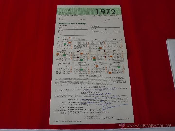 CALENDARIO LABORAL ALMERIA 1972 (Coleccionismo - Carteles Pequeño Formato)
