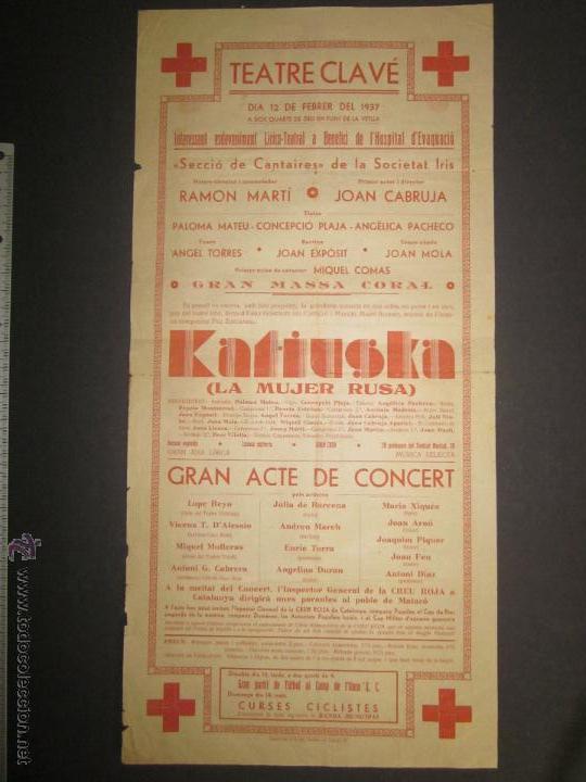 CARTEL TEATRE CLAVE ANY 1937 - VER FOTO MEDIDAS (Coleccionismo - Carteles Pequeño Formato)