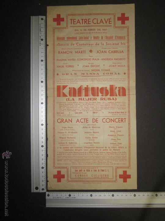 Coleccionismo de carteles: CARTEL TEATRE CLAVE ANY 1937 - VER FOTO MEDIDAS - Foto 2 - 43884618