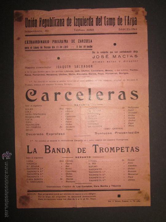 CARTEL UNION REPUBLICANA DE IZQUIERDA DEL CAMP DEL ARPA - BARCELONA - VER FOTO MEDIDAS (Coleccionismo - Carteles Pequeño Formato)