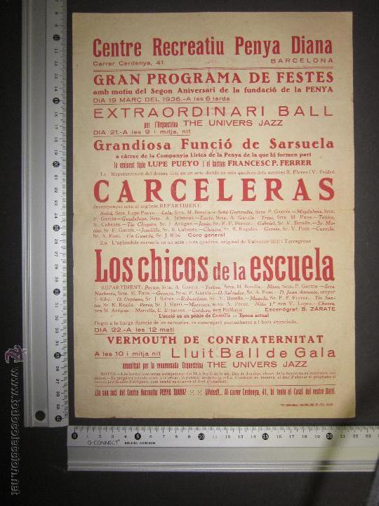 Coleccionismo de carteles: CARTEL CENTRE RECREATIU PENYA DIANA BARCELONA-MARÇ 1936 - VER FOTO MEDIDAS - Foto 2 - 43884801