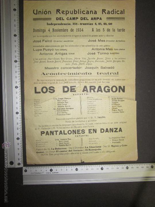 Coleccionismo de carteles: CARTEL UNION REPUBLICANA RADICAL DEL CAMP DEL ARPA - BARCELONA - AÑO 1934- VER FOTO MEDIDAS - Foto 2 - 43884833