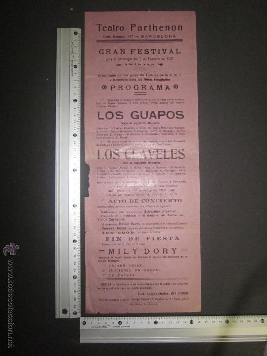 Coleccionismo de carteles: CARTEL TEATRO PARTHENON - BARCELONA - AÑO 1937 GUERRA CIVIL - VER FOTO MEDIDAS - Foto 2 - 43884859