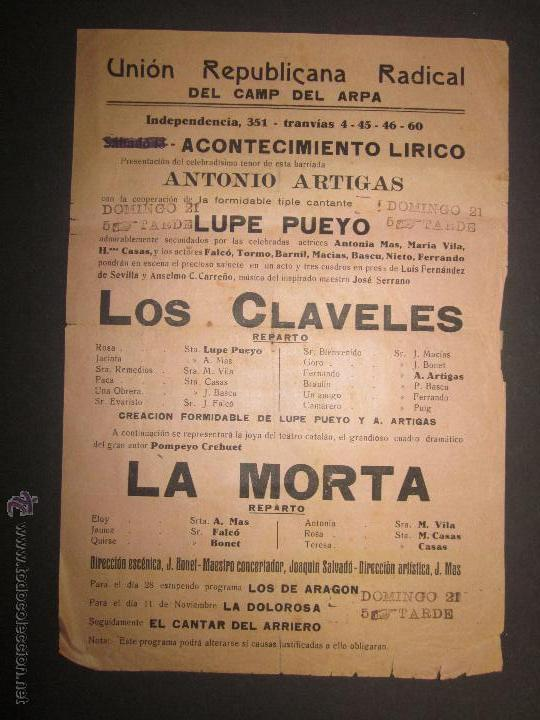 CARTEL UNION REPUBLICANA RADICAL DEL CAMP DEL ARPA - BARCELONA - VER FOTO MEDIDAS (Coleccionismo - Carteles Pequeño Formato)