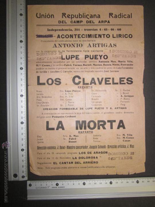 Coleccionismo de carteles: CARTEL UNION REPUBLICANA RADICAL DEL CAMP DEL ARPA - BARCELONA - VER FOTO MEDIDAS - Foto 2 - 43885069