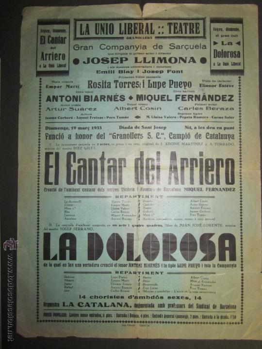 CARTEL LA UNIO LIBERAL TEATRE - GRANOLLERS- ANY 1933 - VER FOTO MEDIDAS (Coleccionismo - Carteles Pequeño Formato)