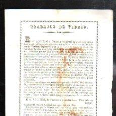 Coleccionismo de carteles: SANLUCAR DE BARRAMEDA. TRABAJOS DE VIDRIO. PEQUEÑO CARTEL. 1860. LEER. Lote 43956408