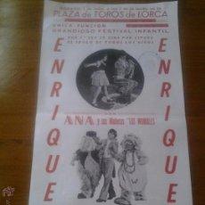 Colecionismo de cartazes: ANTIGUO CARTELITO ENRIQUE Y ANA Y SUS MUÑECOS LOS WOMBLES PLAZA DE TOROS DE LORCA 1978. Lote 44274385