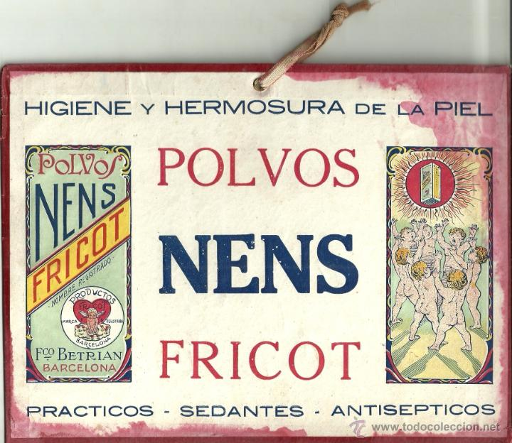 CARTEL PEQUEÑO: POLVOS NENS FRICOT - HIGIENE Y HERMOSURA DE LA PIEL. AÑOS 20. MEDIDAS: 22,5 X 17 CM. (Coleccionismo - Carteles Pequeño Formato)