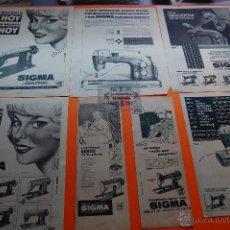 Coleccionismo de carteles: PUBLICIDAD AÑOS 1958 A 1962 - COLECCION MAQUINAS DE COSER LOTE DE 7 ANUNCIOS SIGMA. Lote 45102327