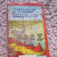 Coleccionismo de carteles: CHAPA DE LATA PIMENTON JOSE SANCHEZ ARANDA, CABEZO DE TORRES MURCIA, 33X18CM LA DE LA FOTO + INFO. Lote 45180916