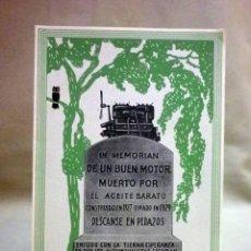 Coleccionismo de carteles: PUBLICIDAD ACEITES PARA MOTOR MOBILOIL, CON RECOMENDACIONES, DIPTICO, SEIX Y BARRAL, BARCELONA,1920S. Lote 45227860