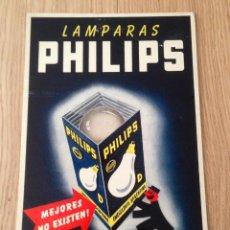 Coleccionismo de carteles: CARTEL EN CARTON PUBLICIDAD BOMBILLAS PHILIPS ANTIGUO. Lote 45298731