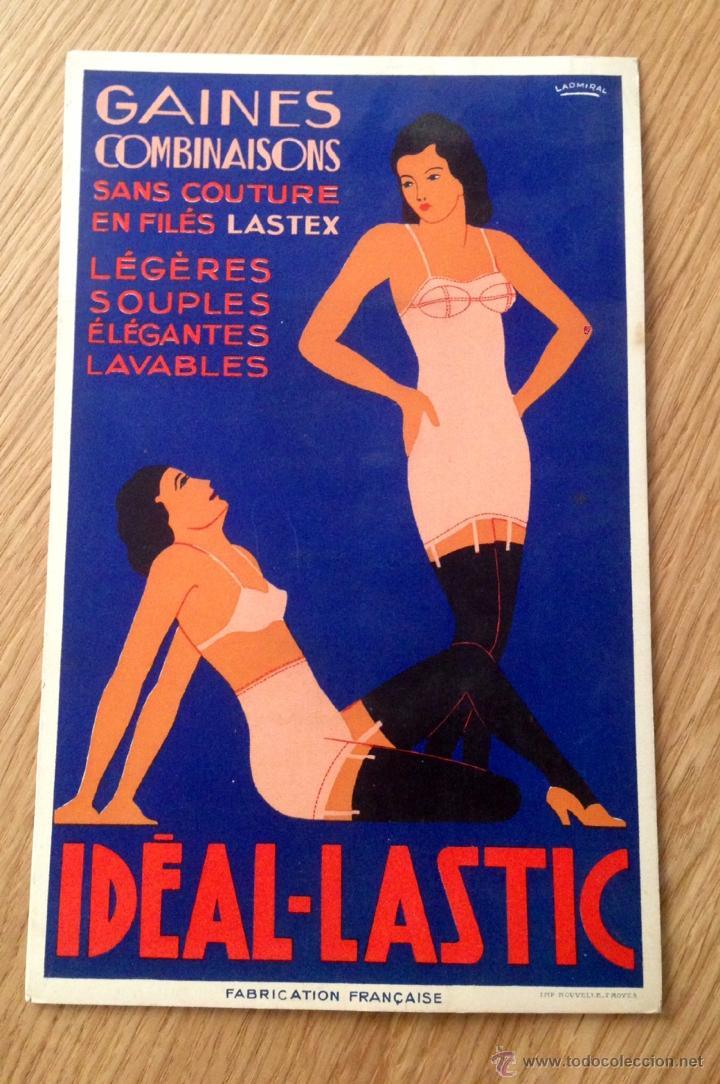 IDEAL LASTIC, CARTEL DISPLAY PUBLICIDAD ROPA INTERIOR FEMENINA, AÑOS 30-40 ORIGINAL FRANCÉS (Coleccionismo - Carteles Pequeño Formato)