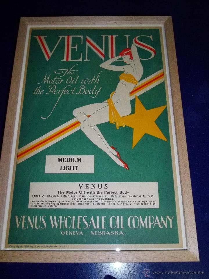 RARO CARTEL BELLISIMA LITOGRAFIA ORIGINAL 1929 USA ACEITE VENUS PIN UP ART DECO MODERNISTA (Coleccionismo - Carteles Pequeño Formato)