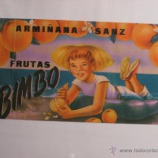 Coleccionismo de carteles: FRUTAS BIMBO. 23,8 X 13,3 CMS. Lote 45692085