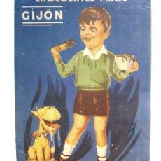 Coleccionismo de carteles: CARTEL PUBLICIDAD DE CHOCOLATES FINOS DE GIJON ASTURIAS AÑOS 40 - 50. Lote 46134085