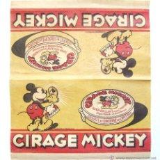 Coleccionismo de carteles: BONITO CARTEL DE PAPEL FINO PUBLICIDAD BETUN CREMA CALZADO CIRAGE MICKEY MOUSE. WALT DISNEY AÑOS 30. Lote 46212952