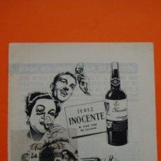 Coleccionismo de carteles: PUBLICIDAD ORIGINAL - JEREZ VALDESPINO - 1959 - JEREZ INOCENTE. Lote 46220935