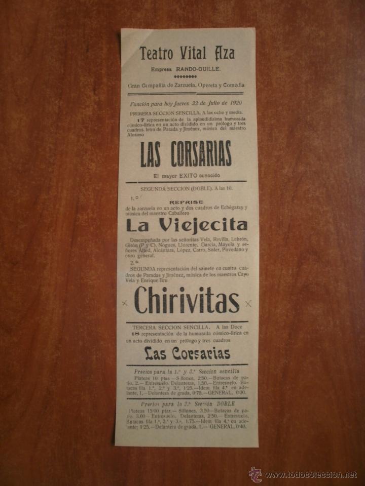 CARTEL DE TEATRO VITAL AZA AÑO 1920 RANDO GUILLE LA CORSARIAS LA VIEJITA CHIRIVITAS (Coleccionismo - Carteles Pequeño Formato)