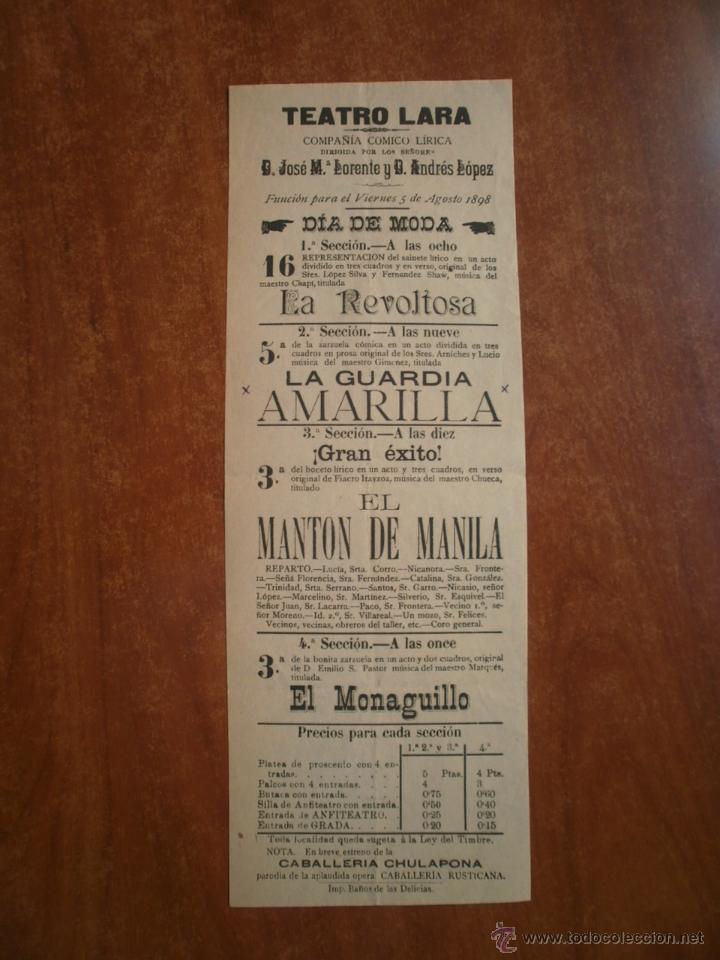 CARTEL TEATRO LARA AÑO 1898 COMPAÑIA JOSE MARIA LORENTE ANDRES LOPEZ FERNANDEZ SHAW CHAPI ARNICHES (Coleccionismo - Carteles Pequeño Formato)