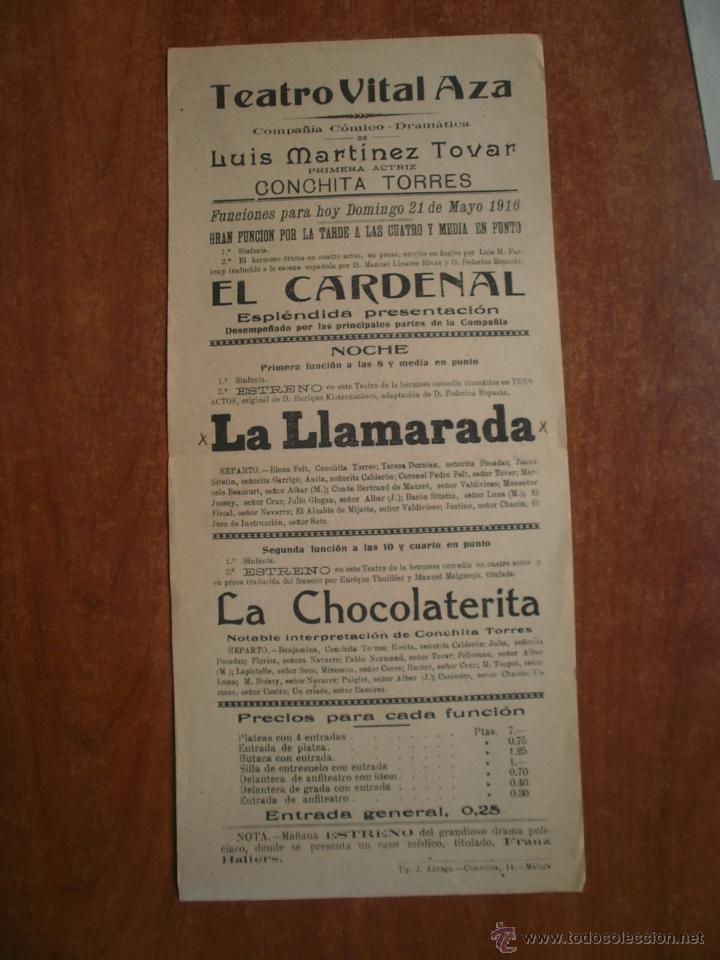 CARTEL TEATRO VITAL AZA AÑO 1916 COMPAÑIA DE LUIS MARTINEZ TOVAR CONCHITA TORRES LUIS PARKENY RIVAS (Coleccionismo - Carteles Pequeño Formato)