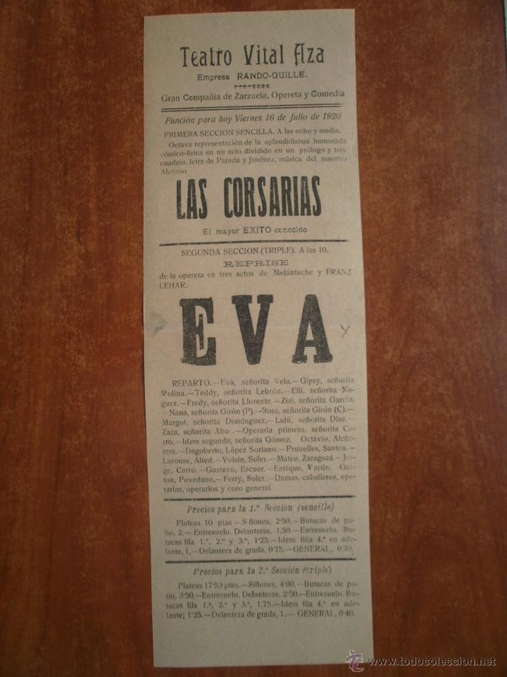 CARTEL TEATRO VITAL AZA AÑO 1920 RANDO GUILLE PARADA Y JIMENEZ MAESTRO ALONSO MELANTUCHE FRANZ LEHAR (Coleccionismo - Carteles Pequeño Formato)