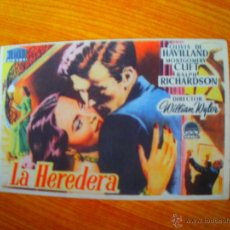 Colecionismo de cartazes: FOLLETO DE MANO PROGRAMA PROSPECTO DE CINE PELICULA , LA HEREDERA. Lote 46741279