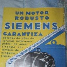 Coleccionismo de carteles: ANTIGUA PUBLICIDAD MOTORES SIEMENS - CORNELLÁ, BARCELONA -DOCC-. Lote 46884747