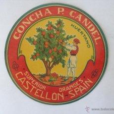 Coleccionismo de carteles: CARTEL ( 22 CM ) DE NARANJAS CONCHA P, CANDEL - CASTELLON - ORIGINAL AÑOS 60. Lote 195289835