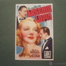 Colecionismo de cartazes: FOLLETO DE MANO PROGRAMA PROSPECTO DE CINE PELICULA , LA VUELTA DE ARSENIO LUPIN. Lote 47129375