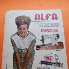 Coleccionismo de carteles: PUBLICIDAD 1964 - COLECCION VARIOS - MAQUINA COSER ALFA TRICOTOSA- TAMAÑO 26 X 36 CM. . Lote 47433357