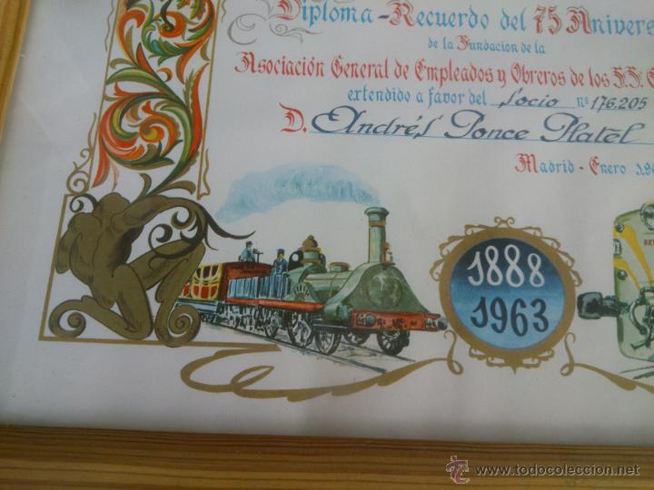 Coleccionismo de carteles: DIPLOMA RECUERDO 75 ANIVERSARIO RENFE.1888/1963.FIRMADO - Foto 4 - 47527689